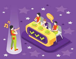 Isometric quiz tv show composition with singing woman in front of judge seats with show buttons vector illustration