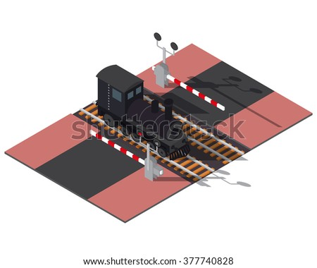 isometric railway barriers and