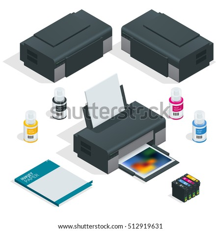 Isometric Realistic printer. Vector Illustration on white background for design