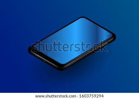 isometric realistic smartphone with empty blank screens vector grid. Mobile app user interface ui concept smartphone screens shiny mockup perfect for dark theme interfaces.