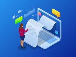 Isometric receipt of statistics data, notification on financial transaction, mobile bank, smartphone with a paper bill. Analysis and statistic online services.