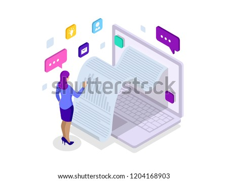 Isometric receipt of statistics data, notification on financial transaction, mobile bank, a smartphone with a paper bill. Analysis and statistic online services. Data Visualization.