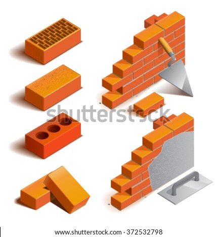 Isometric red brick wall