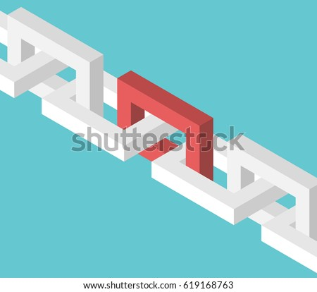 isometric red unique chain link