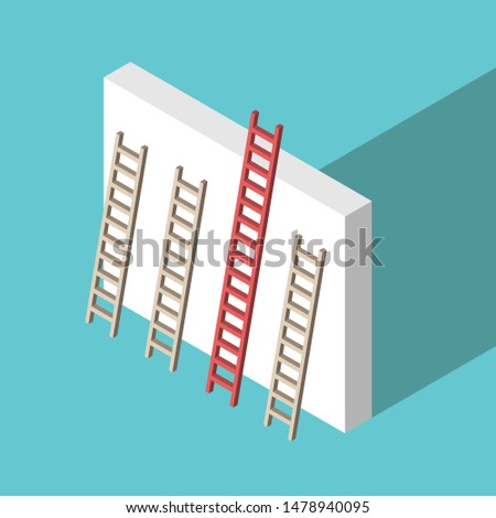 Isometric red unique ladder set against wall on turquoise blue background. Uniqueness, achievement and competition concept. Flat design. EPS 8 vector illustration, no transparency, no gradients