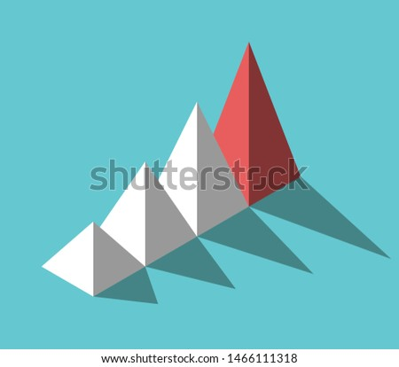 Isometric red unique leader pyramid in front of many white ones on turquoise blue. Leadership, management and uniqueness concept. Flat design. Eps 8 vector illustration, no transparency, no gradients