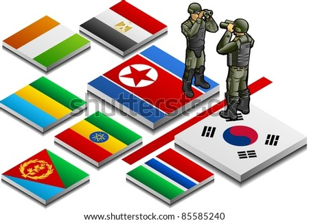 isometric representation of militarized border with military observer on button flag