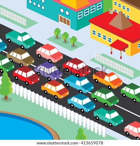 isometric residential view cartoon - traffic jam