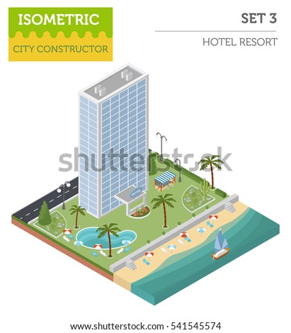 Isometric resort hotel  and city map constructor elements solated on white. Build your own infographics collection. Vector illustration