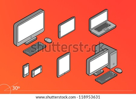 Isometric Responsive Design Screens Computers Pack