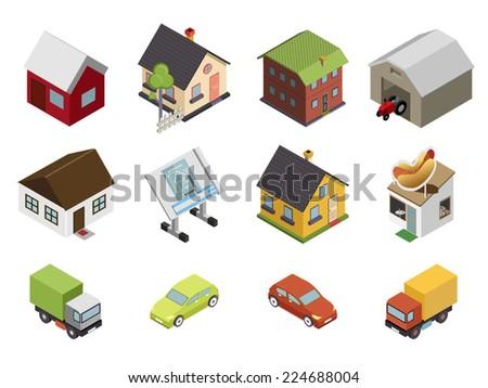 isometric retro flat cars house