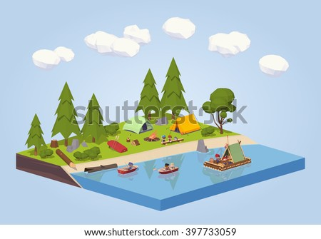 isometric river tent camp