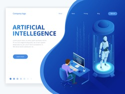 Isometric Robot with artificial intelligence. Robot cybernetic organism works with a virtual HUD interface in augmented reality. Future concept.