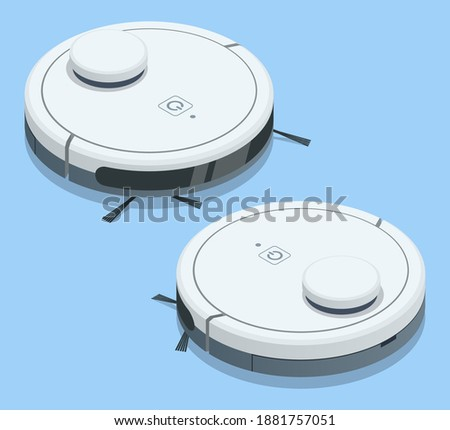 Isometric Robotic Vacuum Cleaner. Robot vacuum cleaner communicates with the smartphone via wireless.