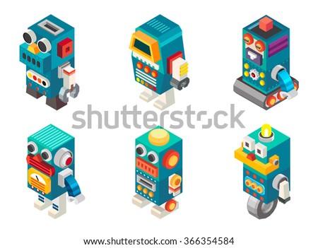 isometric robots toy  vector