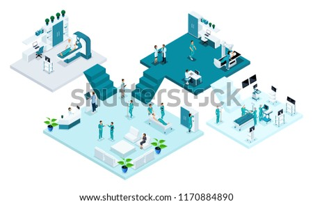 Isometric room of the hospital, Healthcare and innovative technology, medical personnel, patients, examination and diagnosis of the disease, surgery.
