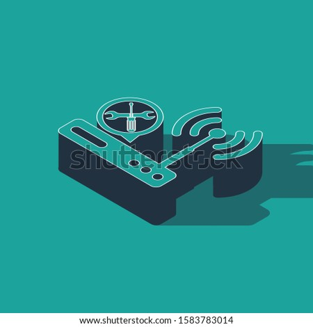Isometric Router wi-fi with screwdriver and wrench icon isolated on green background. Adjusting, service, setting, maintenance, repair, fixing.  Vector Illustration
