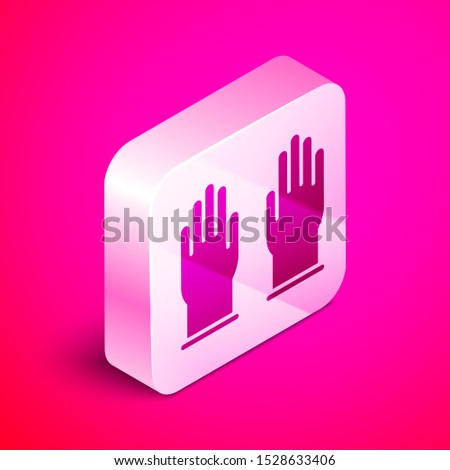 isometric rubber gloves icon