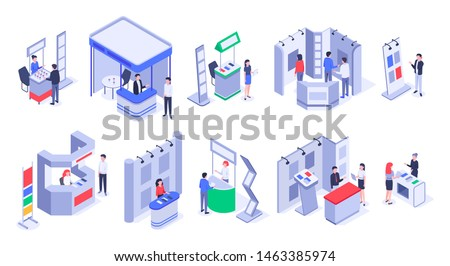 Isometric sale stands. Expo demonstration stand, product exhibition trade stalls and events people. Business trade show, mall marketing event demonstrations stands. Isolated 3d icons vector set
