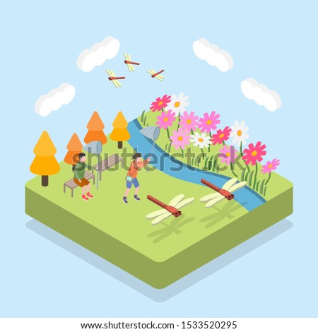 Isometric Scene of Autumn; Scene of Catching Dragonflies in the Park
