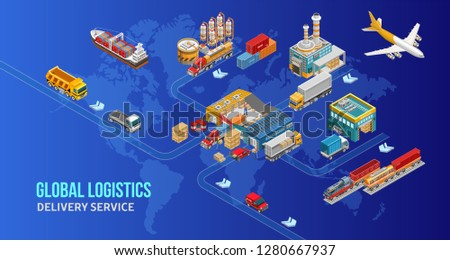 Isometric scheme global logistics system depicted step by step over world map. Different types of global logistics — container carrier, cargo ship, cargo plane, truck, train.