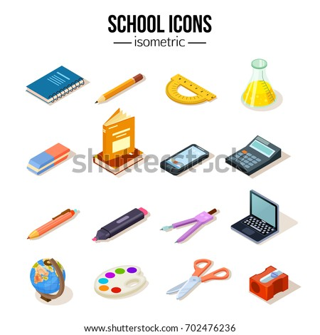 Isometric school education set icons vector illustration. Eraser, compasses, sharpener, flask, pencil and other objects.