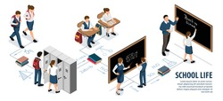 Isometric school infographics with editable text and characters of pupils at desks and teacher near blackboard vector illustration