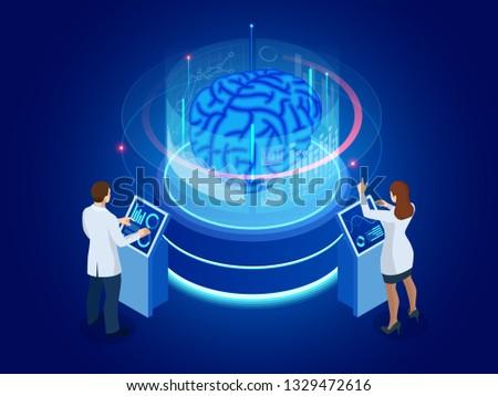 Isometric scientific development of Artificial Intelligence concept. Electric brain. Laboratory researching brain. vector illustration