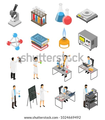Isometric scientific laboratory set with isolated images of research equipment and human characters of scientists in uniform vector illustration