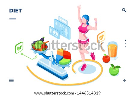 Isometric screen for diet smartphone application. Fitness woman and measuring tape, scales and vegetable salad, apple fruit. Calorie plan and weight checking, exercise, dieting, nutrition,healthy food
