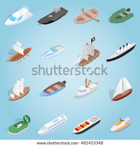 Isometric sea boat icon 3d. Illustration of sea boat icon vector for web