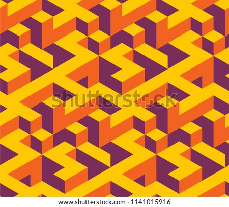 Isometric seamless pattern covers. Modern design background. Infinite colorful backdrops for Banners, Placards, Posters, Flyers. Vector illustration.