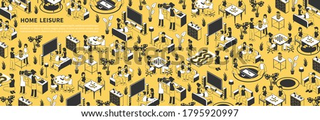 Isometric seamless pattern in yellow black and white colors with people doing various leisure activities at home 3d vector illustration Foto stock ©