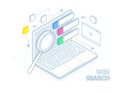 Isometric search engine result page flat vector.