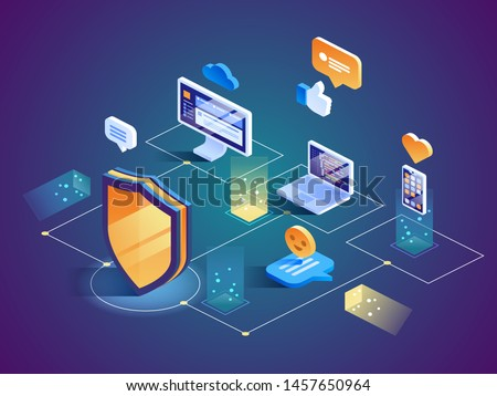 Isometric Security Data Protection concept. Server Pc monitor Tablet Phone Laptop in Cloud network. Vector illustration.  Stock photo ©