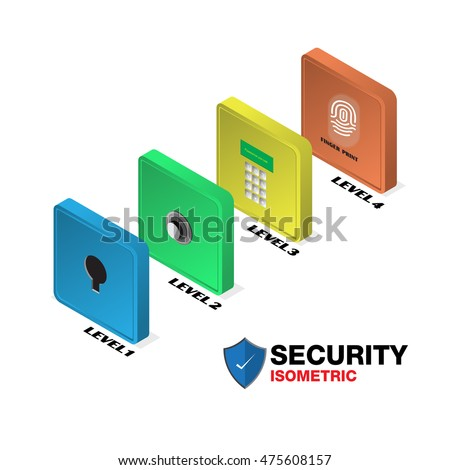 Isometric security levels of your data, vector infographics steps protection data.