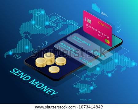 Isometric send money. Online Money Transfer Interface Concept. Modern technology and online transaction.