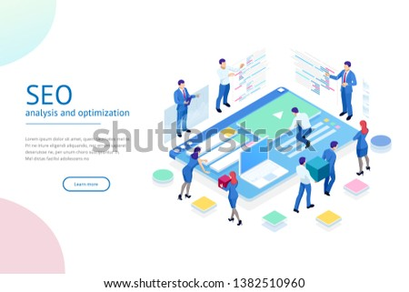 Isometric SEO analytics team concept. Contents creation specialist and article writers. Writing service, IT specialists, search engine optimization analysis