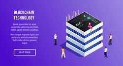 Isometric server. 3d server and people witn smartphones and tablets. Isometric blockchain. Cryptocurrency. Vector illustration.