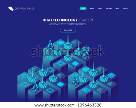 Isometric Server room and big data processing concept, datacenter and data base icon, digital information technology. Vector abstract background
