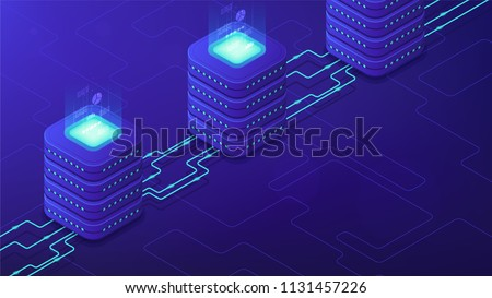 Isometric server-side processing concept. DNS, data tables, paging, searching, ordering, SQL engine, remote server, communications protocol on blue background. Vector 3d isometric illustration.