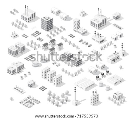 isometric set city with