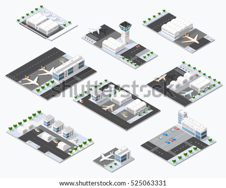 isometric set 3d airstrip of