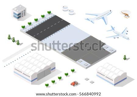 isometric set 3d airstrip of