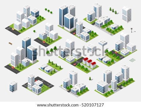 Isometric set 3D city three-dimensional summer town quarter. Skyscrapers, apartment, office, houses and streets with urban traffic movement of the car with trees and nature