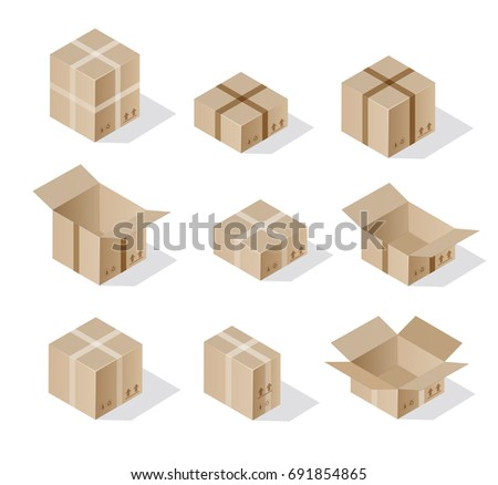 Isometric set 3D gift box holiday packaging case objects
