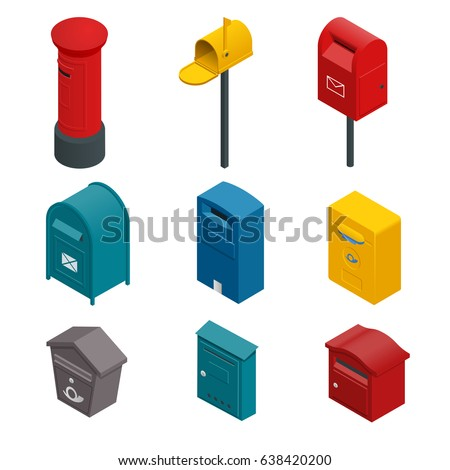 Isometric set of a post box or written postbox. Flat vector colourful collection isoleted on white.
