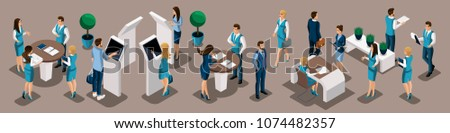 Isometric set of bank managers in work in the bank office, ATMs, issuing loans, customer service, horizontal placement.