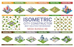 Isometric set of blocks module of areas of the city construction and designing of the perspective city of design of the urban environment