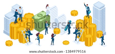 Isometric set of businessmen, investors, bankers, income growth, coins, cash, real estate investment